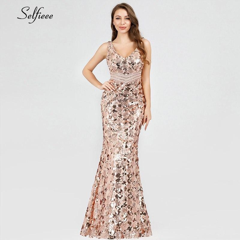 Paillettes femmes robes longue sirène paillettes réservoir v-cou sans manches Sexy Maxi robes d'été 2019 pas cher élégant robes de soirée