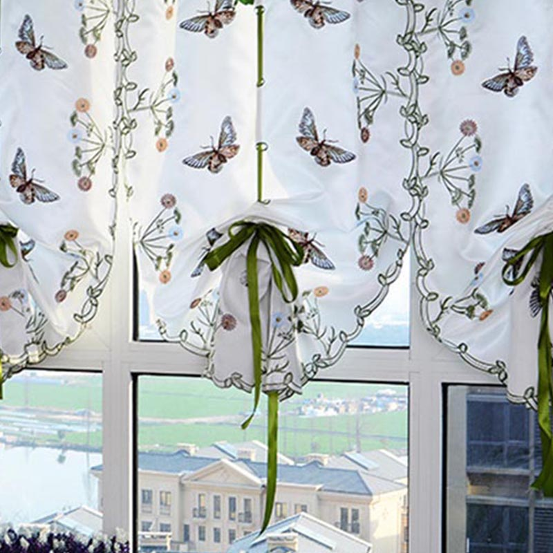 1pcs Top Finel Butterfly Kitchen Curtains Tulle for Windows Living Room  Bedroom Window Embroidered Roman Curtain Home Textile