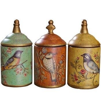 Vintage Ceramic Kitchen Canister Jars Storage Bottles Retro Tea Candy Tin Sugar Pot Organizer Painted Storage Jar Cans Cooking