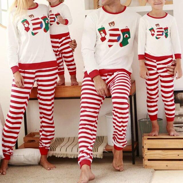 Bébé vêtements automne hiver nouveau Style loisirs robe de nuit vêtements de nuit rayé Parent-enfant costume noël imprimer famille pyjamas ensemble
