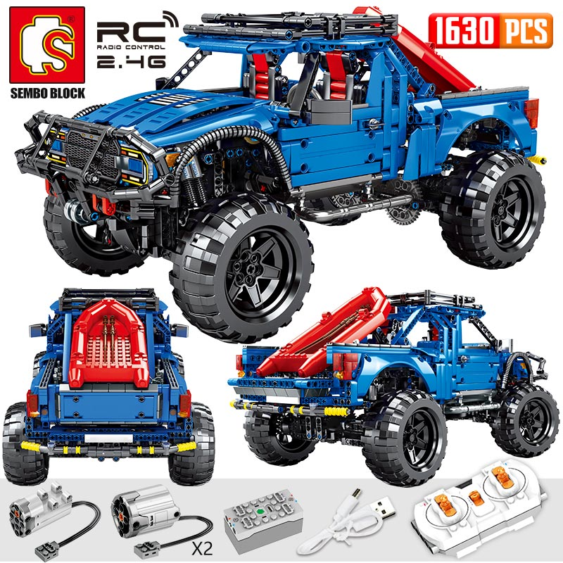 SEMBO Block 1630PCS City Remote Control Car Bricks Technic RC/non-RC Trucks Pickup Model Building Blocks Toys For Kids