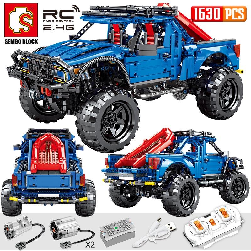 SEMBO Block 1630PCS City Remote Control Car Bricks Technic RC/non-RC Trucks Pickup Model Building Blocks Toys For Kids