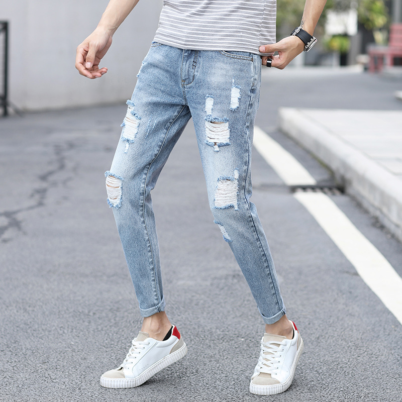 2019 Men Capri With Holes Jeans Popular Brand Slim Fit Pants Versatile 9 Points Pants Men's Korean-style Trend 819 #