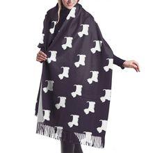 West Highland White Terrier z nadrukiem z psem damski szal szal zimowy szalik kobiety imitacja kaszmiru 196*68cm długi szal Tassel tanie tanio WOMEN Dla dorosłych Poliester CN (pochodzenie) Szalik szal Cartoon Moda 175 cm LSWJ Imitate cashmere scarf Transfer printing