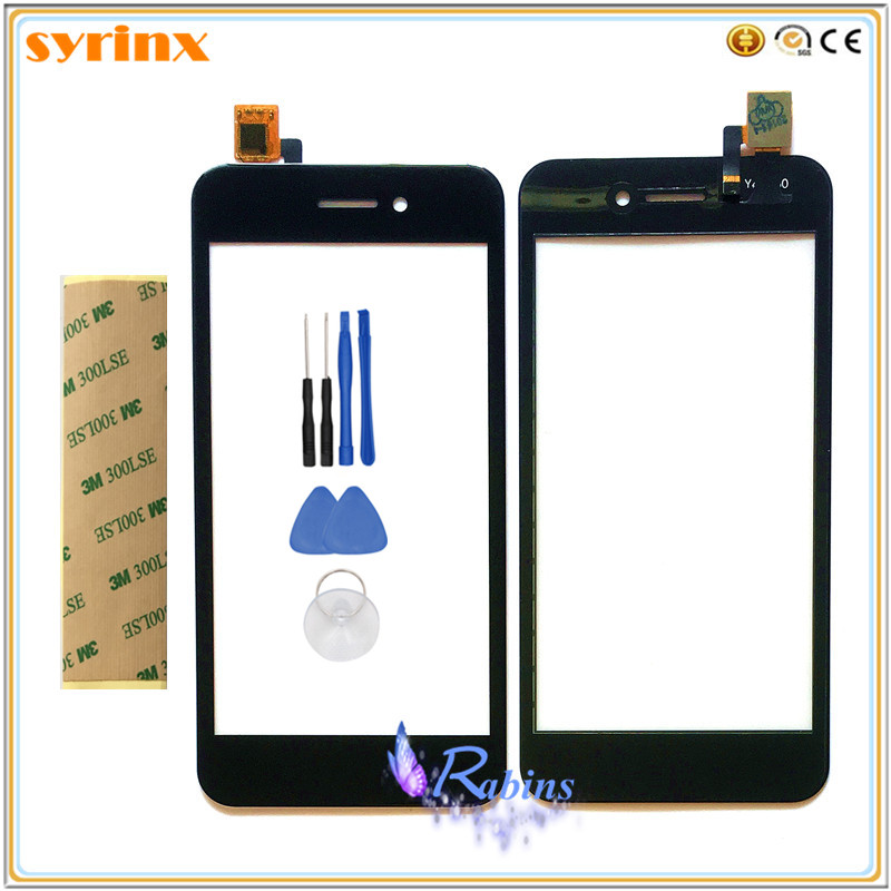 SYRINX With 3m tape Tools 4.5 inch Phone Touchscreen For Fly FS459 Nimbus 16 Touch Screen Digitizer Panel Front Glass Sensor image