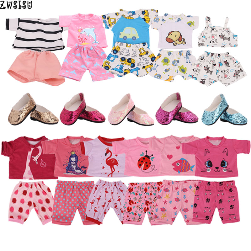 13 Styles Cute Animals Patterns Pajamas 1 Set=2 Pcs Short Sleeve+Pants For 18 Inch American &43 Cm Born Doll Generation Girl`Toy