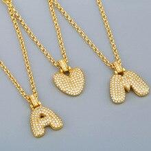 FLOLA Gold Chain Bubble Initial Letter Necklace Alphabet Pendant For Men Women Crystal Necklace Zirconia Hip Hop Jewelry nker11