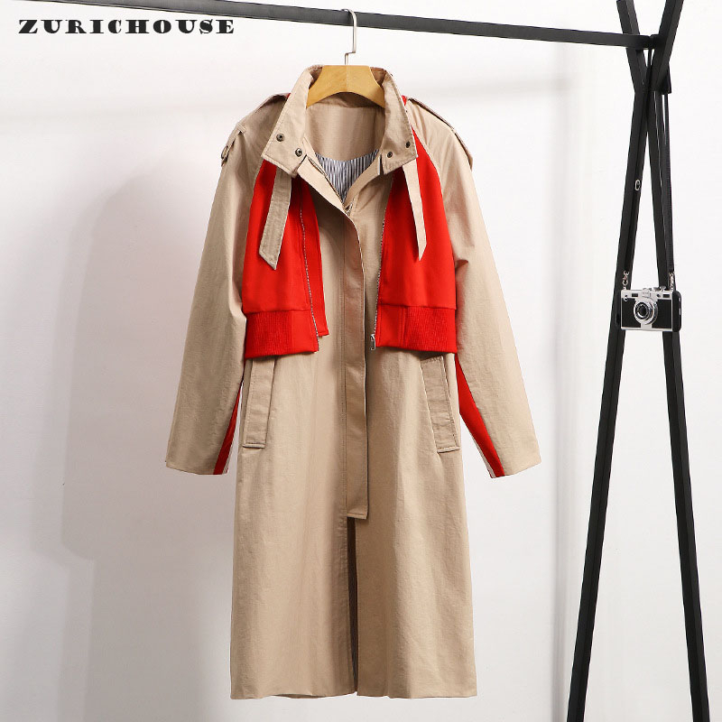 ZURICHOUSE 2020   Trench   Coat Women Long Fashion Fake Two-piece Khaki Contrast Color Patchwork Spring Windbreaker