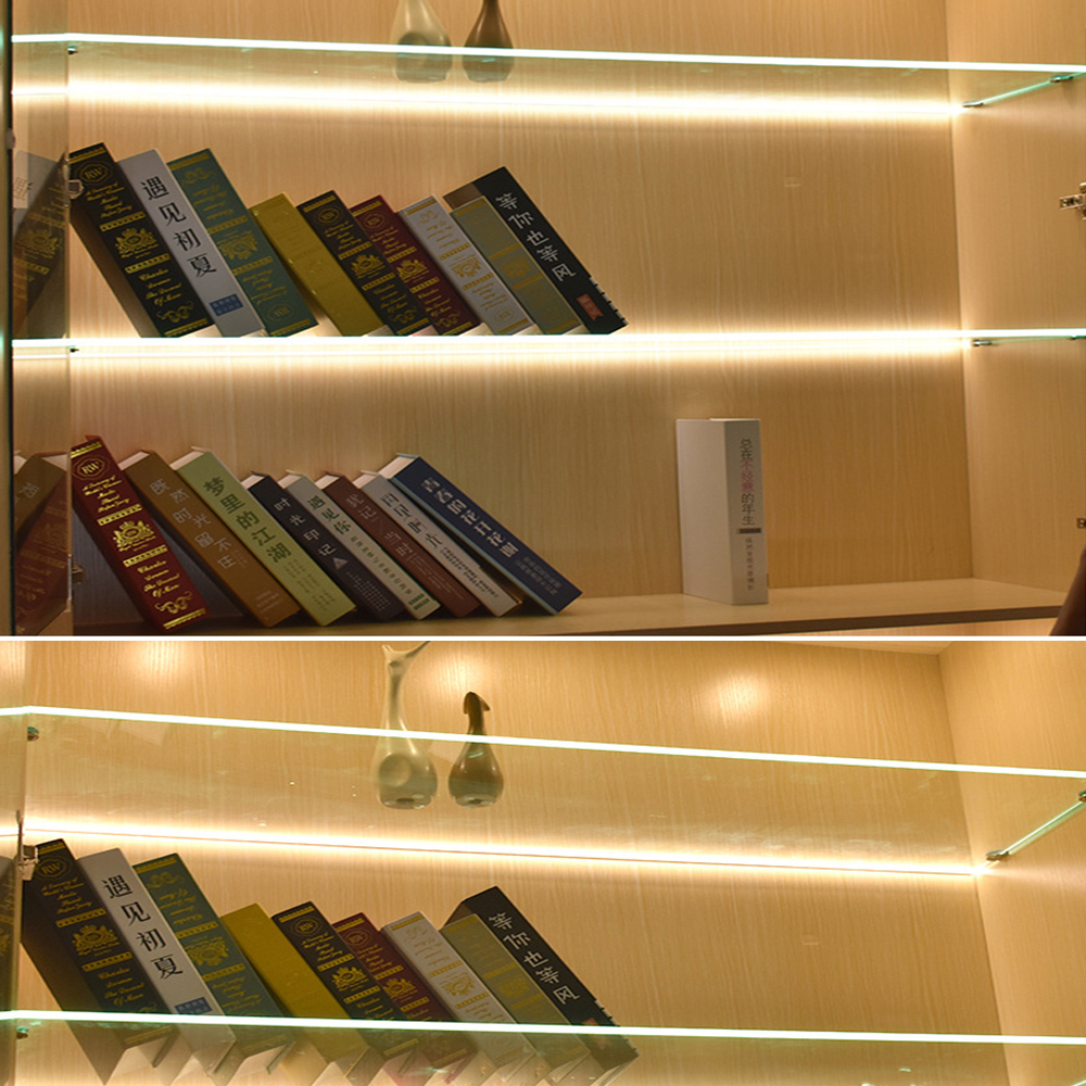 EU PLUG LED Glass Shelf Light 10MM12MM Thick Partition Light Line Light With Plywood Cabinet Light