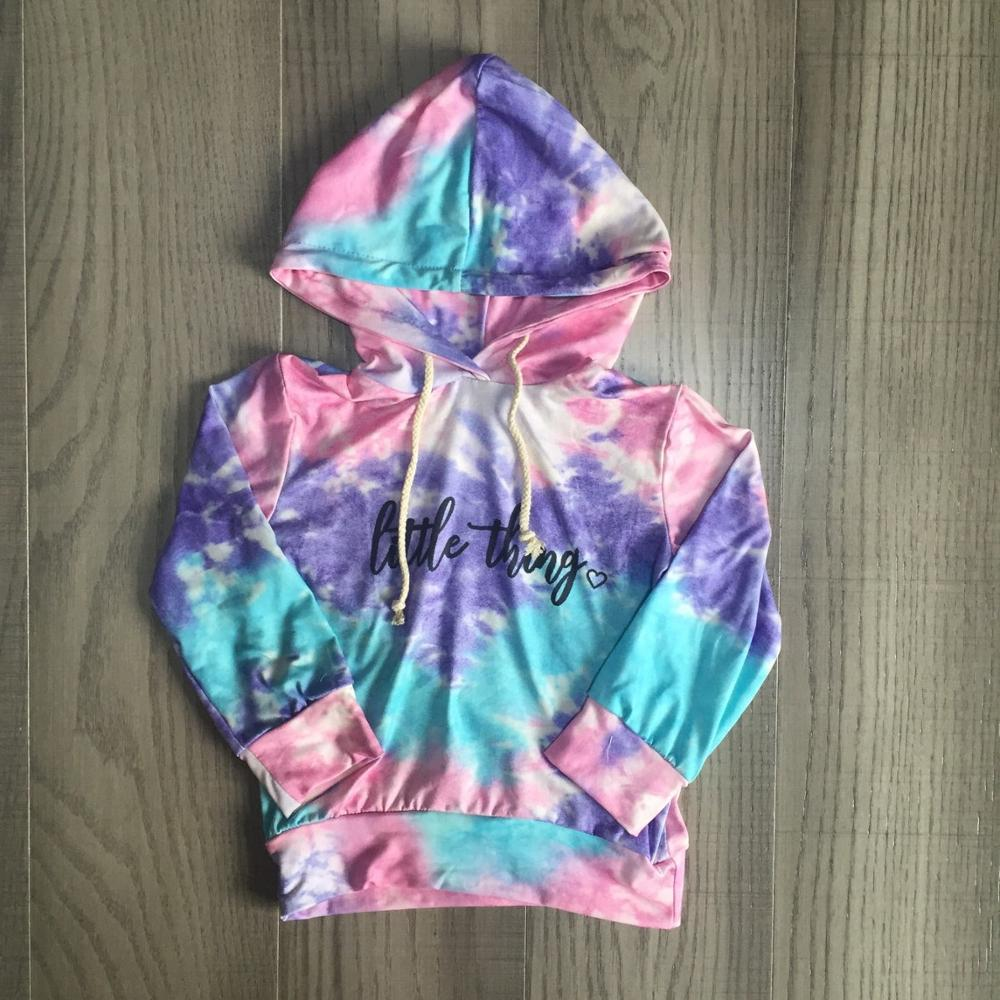 Girlymax fall/winter baby girls mommy & me raglans boutique little thing tie dyed cotton top  children clothes hoodie kidswear 1