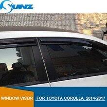 цена на Side window deflectors For Toyota Corolla  2014 2015 2016 2017 2018 Black Window Visor Vent Shade Sun Rain Deflector Guards SUNZ