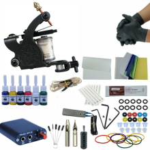 Complete Tattoo Machine Kit Needle Ink Black Power Supply Liner Shader for Beginner