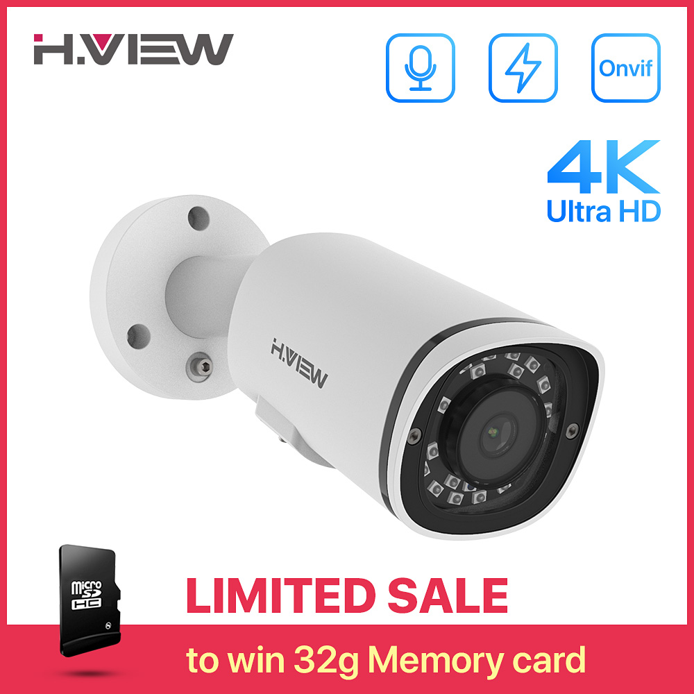 H.View 4K Poe Ip Camera H.265 8MP SD Card Slot Camera Audio Outdoor Human Detection Cctv Security Surveillance For Poe NVR Onvif