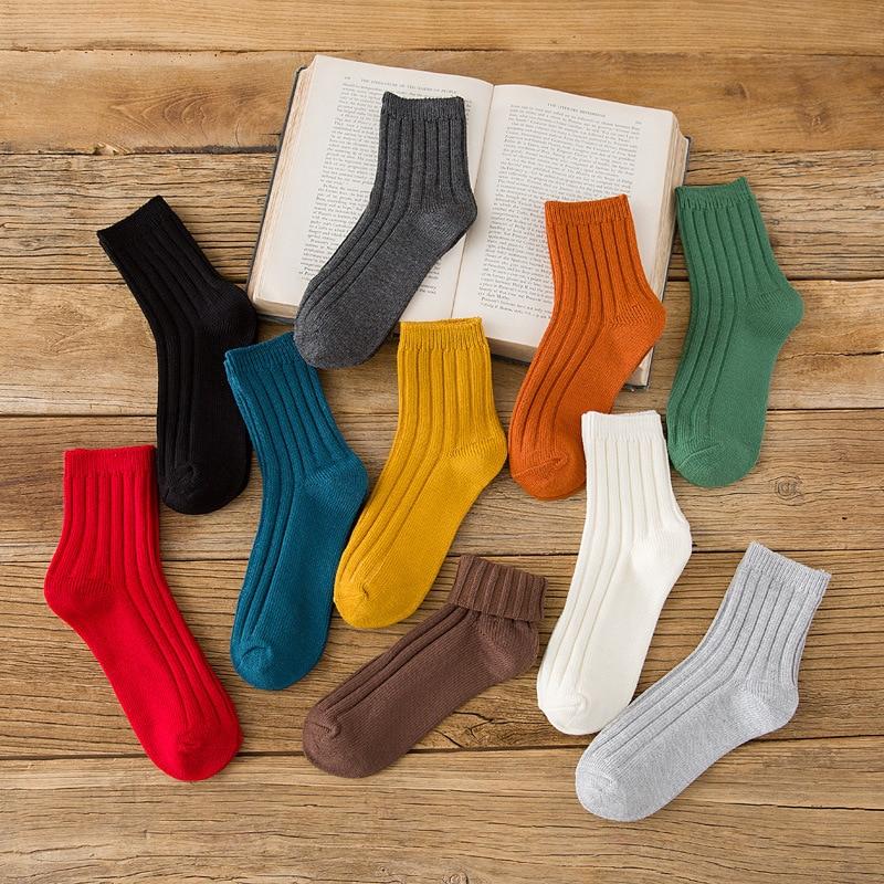 2019 Women Socks Cotton Fashion Candy Color Casual Korean Style Women Cute Socks Set 1 Pairs Autumn Winter Girls Socks Cotton