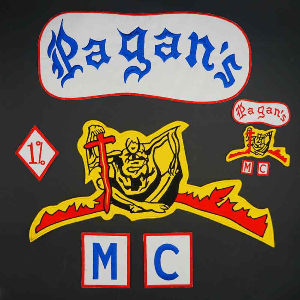 Pagan's MC skull embroidery patch Iron-On Sew On Back Biker Rider Patch For Jacket Vest