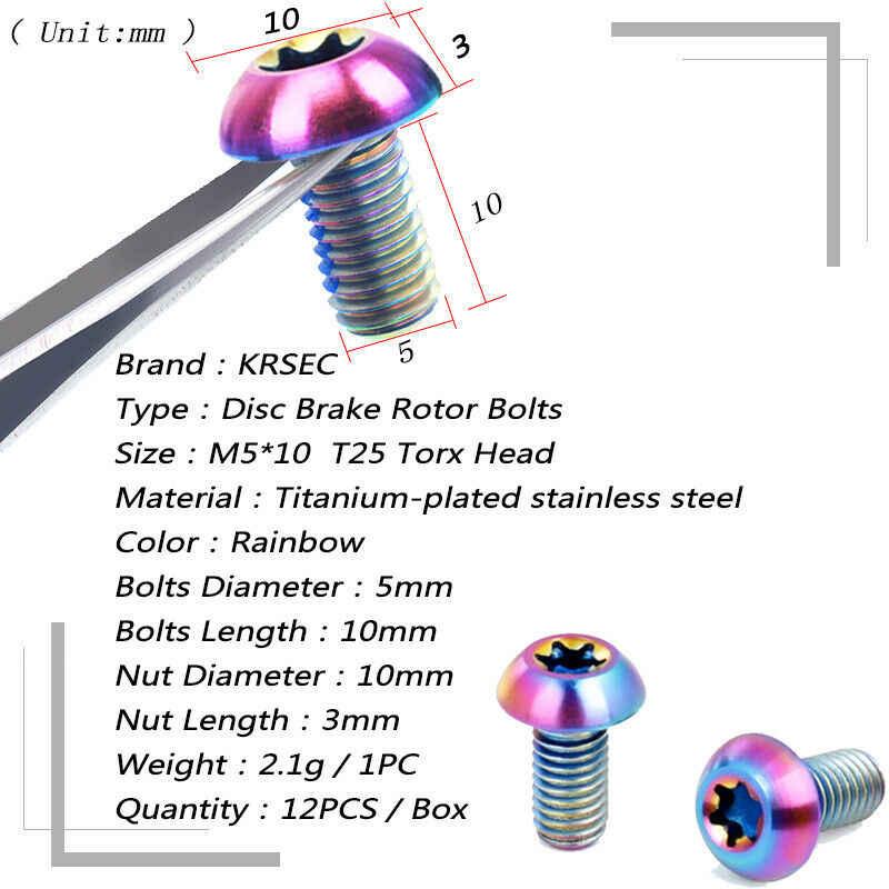 12 pièces M5x10mm disque frein Rotor boulons titane VTT freins disque Rotor vis ultra-léger batterie vélo frein accessoires