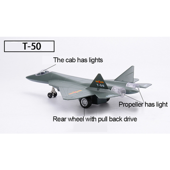 Toy T50 Fighter Alloy Aircraft Model Pull Back With Simulation Sound And Light Function Children's Toy Model Collection Gifts terebo 1 72 aircraft model alloy f 22 fighter simulation finished ornaments military model aircraft model collection gift