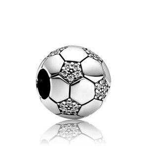 Футбольные амулеты подходят к оригинальному браслету pandora, шарику из бисера, ювелирному изделию diy, подвесному браслету и ожерелью, аксессуа...