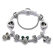 High Quality Cartoon Mickey Minnie Charm Bracelet Eternal love Knotted Heart Snake For Women Fashion Jewelry Gift