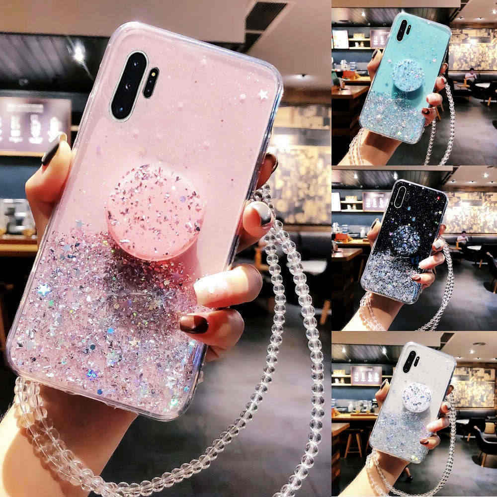 Bling Glitter Case Voor Samsung Galaxy S10 Plus S20 A50 A10 A20 A30 A40 A70 Note 10 9 8 S9 s20 Plus Case Met Standhouder Case