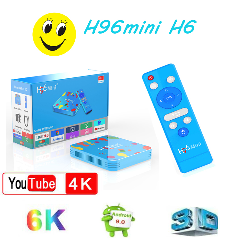 TV décodeur H96 Mini H6 tv boxe 4GB 32GB 128GB android tv box Google Media Player Bluetooth HD support iptv m3u Youtube