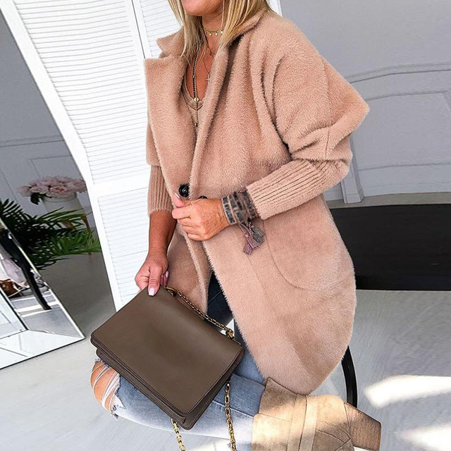 Women Turn Down Collar Solid Warm Coats Shaggy Long Sleeve Button Female Coat 2020 Spring Autumn Fashion Ladies Clothing