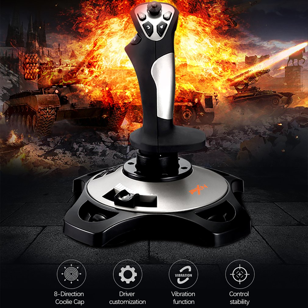 PXN 2113 Thunder Pro Wired Gaming Flight Joystick Simulation Game Rocker 4 Axles Vibration Controller For Windows 10 PC Computer