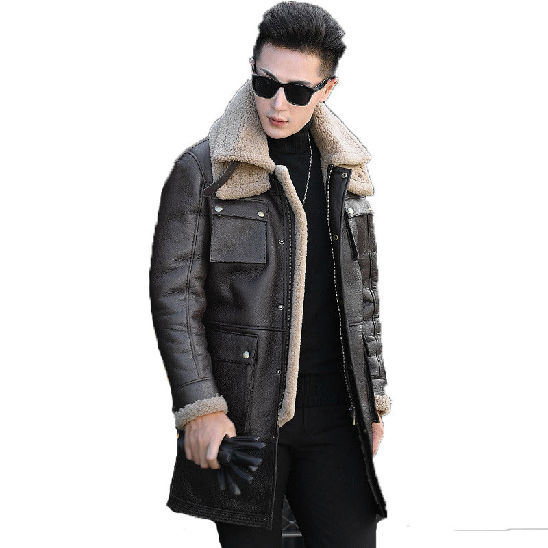 2020 Genuine Leather Jacket Real Wool Fur Coat Winter Jacket Men Real Sheepskin Coat For Men Warm Long Jackets L18-6102 MY1766
