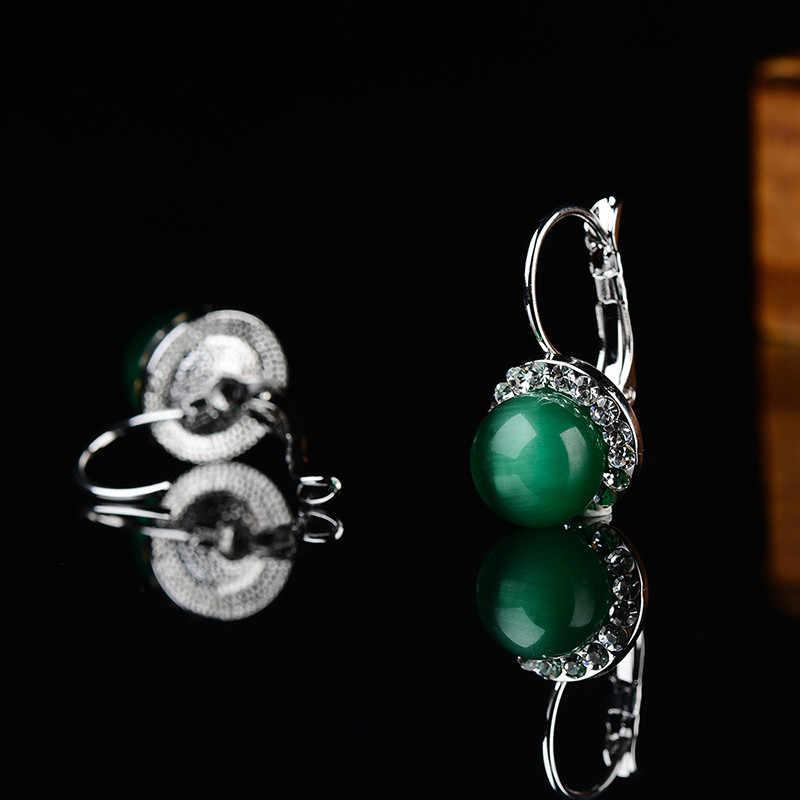 KCALOE อินเทรนด์สีเขียวต่างหูหินธรรมชาติโอปอลคริสตัล Cubic Zirconia ต่างหู Brinco Pedra VERDE Aretes De Mujer