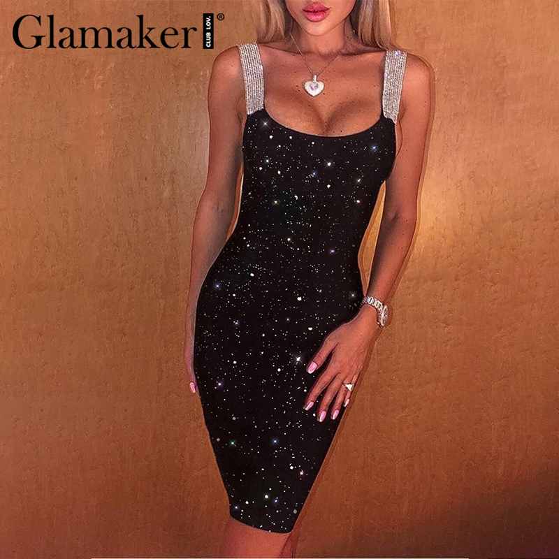 Glamaker Festa Sequin Black Summer Short Dress Women Sleeveless Patchwork Sexy Club Mini Dress Bandage Party Chic Knitted Dress