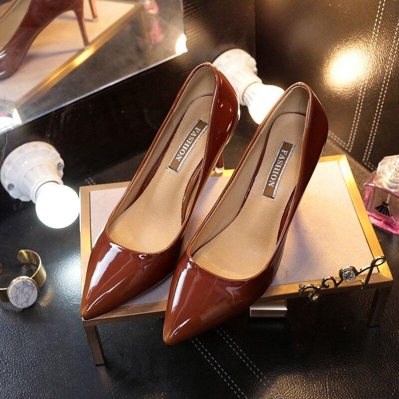Ev ve Bahçe'ten Ayakkabı Rafları ve Organizatörleri'de Kadın sivri burun yüksek topuk ayakkabı 2017 yeni stil moda sığ ağız renk değiştiren ince topuklu ayakkabılar zarif muhteşem forma title=
