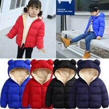 От 3 месяцев до 3 лет, зимнее пальто для малышей детский однотонный пуховик с капюшоном и объемными ушками медведя, комбинезоны теплая зимняя одежда для детей, мальчиков и девочек