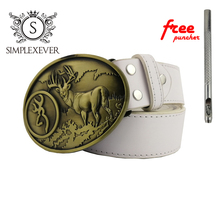 Brass Belt Buckle Magic Forest Deer Pattern Bronze Metal Pin Buckles Fashion Trousers for Men with