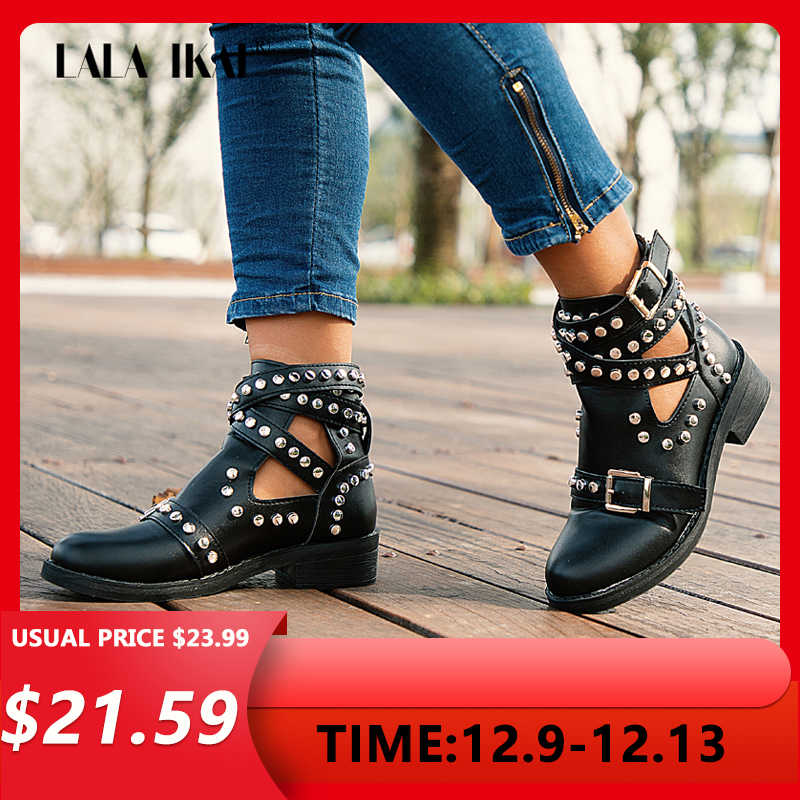LALA IKAI Women Black Ankle Boots Buckle Strap Rivet Shoes Female Pu leather Motorcycle Boots Autumn  Punk Boots XWA5139-4