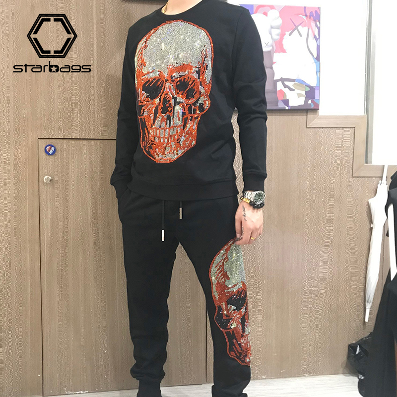 Starbags PP 2020 New Skull Head High Quality Cotton Round Neck Suit - Men's Hot Diamond Embroidery Trend T-shirt With Legged Cas