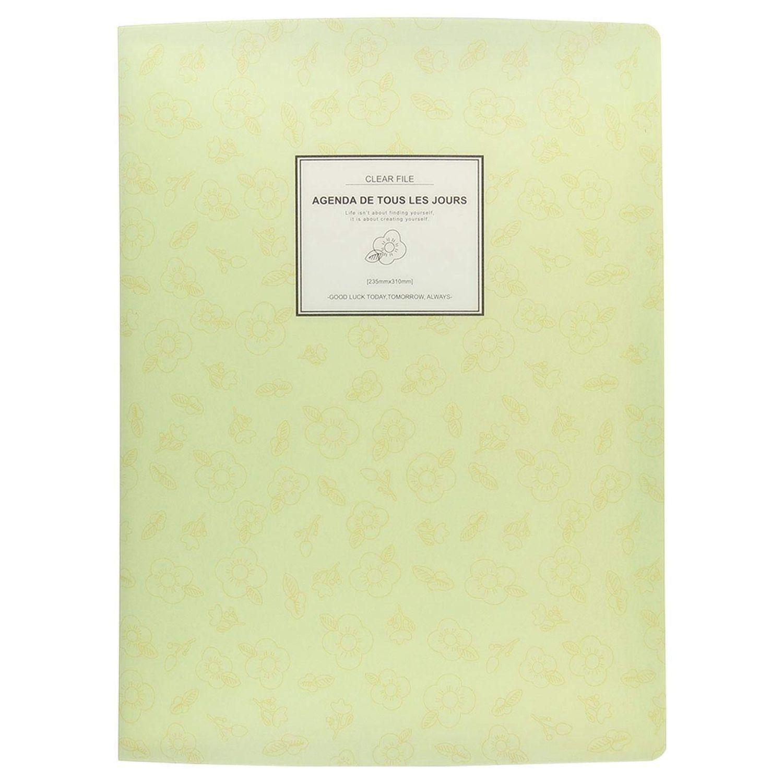 A4 Display Book Folder,Paper Storage Folder Plastic 20 Pockets(Yellow)