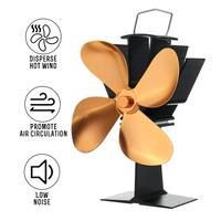 Golden Fireplace 4 Blade Heat Powered Stove Fan Wood Burner Eco Friendly Quiet Fan Home Efficient Heat Distribution