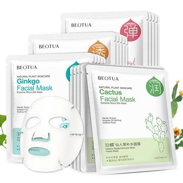Face Mask Plant Essence Skin Care Chamomile Moisturizing Oil Control Whitening Brighten Facial Mask Aloe Pomegranate Seaweed 3