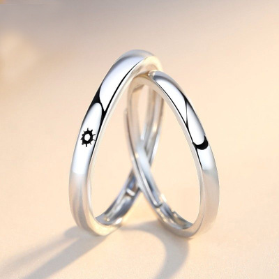 Fashion Simple Opening Sun Moon Ring Minimalist Silver Color Sun Moon Adjustable Ring For Men Women Couple Engagement Jewelry 2