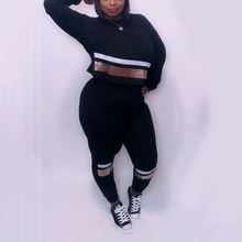 Женские толстовки с капюшоном размера плюс комплект со спортивной
