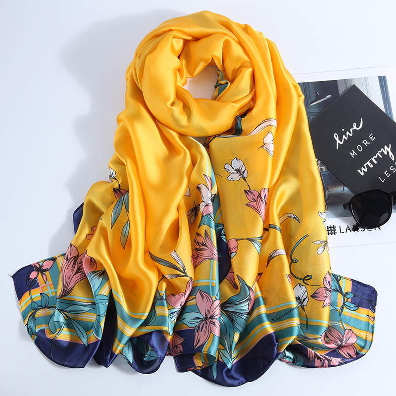 New Design Brand Spring Autumn Winter Women   Scarf   Smooth Flower Long Silk   Scarves   Luxury Shawls and   Wraps   Bandana Neck Scarfs