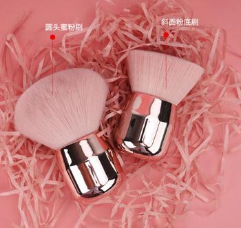 Luxury Shinny Make up Brush Silver Soft Mushroom Powder Brush Pink Angled Flat Air Kabuki Blusher Makeup Brush 1