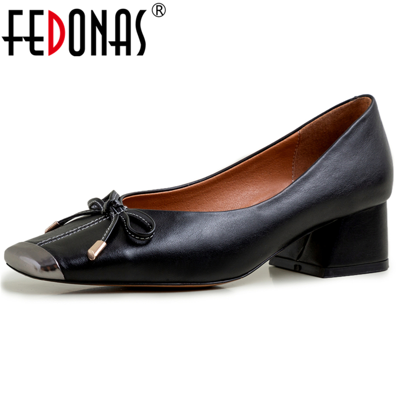 FEDONAS Concise Elegant Women Cow Leather Wedding Casual Shoes Butterfly Knot Metal Square Toe Thick Heel Shallow Shoes Woman