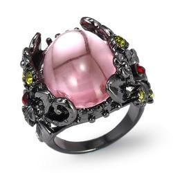 2020 moda Retro pierścionek ze stopu piwonia róża drzewo kwiatowe winorośli jaszczurka ręcznie robiona biżuteria żywica kryształ zroszony kolorowy pierścień tęczy