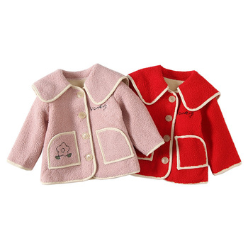 Winter Baby Girls Princess Coat Fleece Warm Kids Jacket Baby Girl Outerwear Kids Clothes with 2 pockets 2 Color 0-3Y