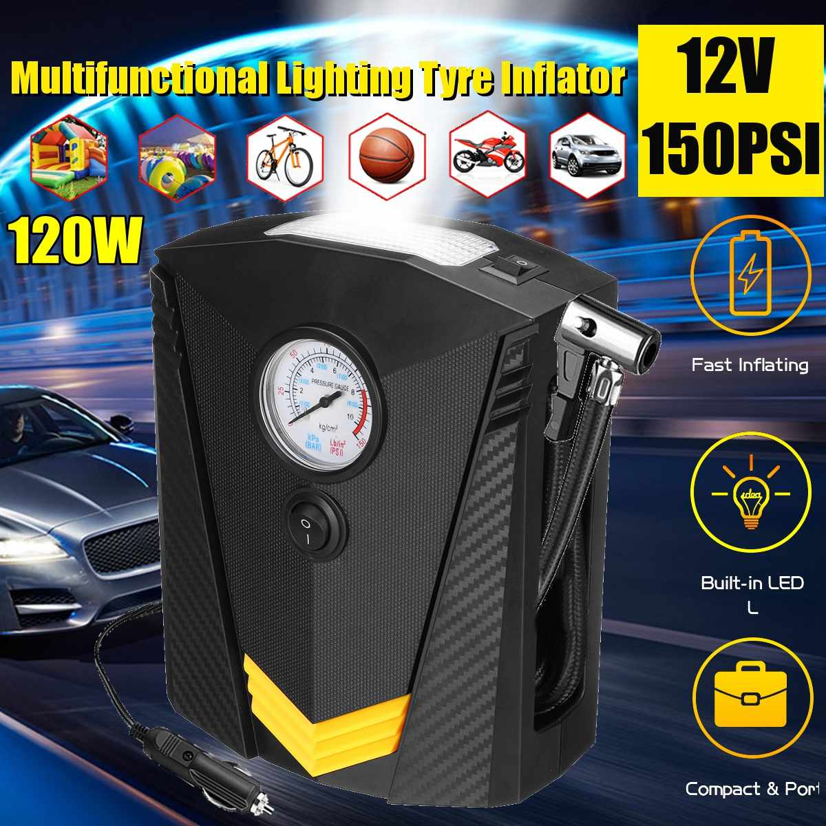 12V Car Digital Tire Inflator DC Portable Air Compressor Pump 150 PSI Car Air Compressor For Car Motorcycle LED Light Tire Pump