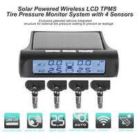 VODOOL Solar coche inalámbrico TPMS negro blanco pantalla Auto neumático presión monitoreo temperatura alarma sistema con 4 sensores