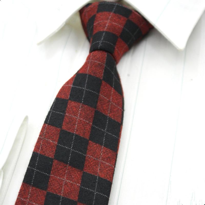 SHENNAIWEI High Quality Woven Wool Tie Men 6 Cm Slim Skinny Narrow Corbata Linen Plaid Necktie Cashmere Gravata Arrival Lote