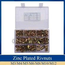 300Pcs/set M3 M4 M5 M6 M8 M10 M12 Rivet Nuts Zinc Plated Rivnuts Insert Rivet Multi Size Kit Flat Head Threaded Rivet Insert Nut цена 2017
