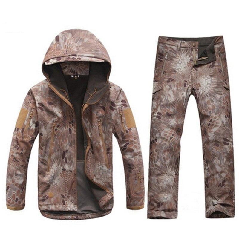 Camouflage Tactical Softshell Jacket Set Men Military Windproof Waterproof Warm Hiking Hunting Jacket Pant Suit Training Uniform